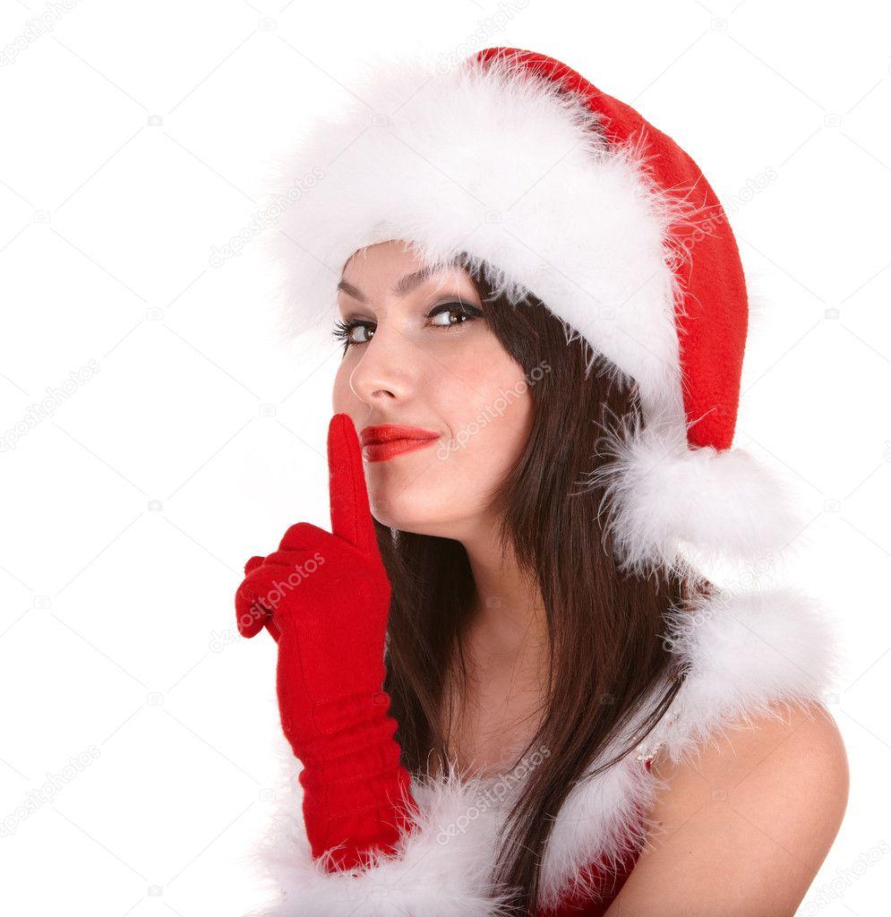 Christmas girl in santa hat making silence gesture. — Stock Photo ...