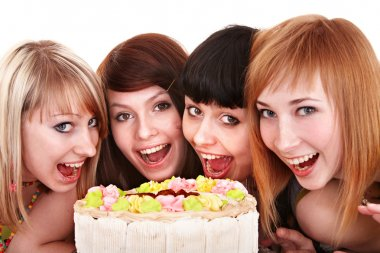 Group of young celebrate happy birthday.
