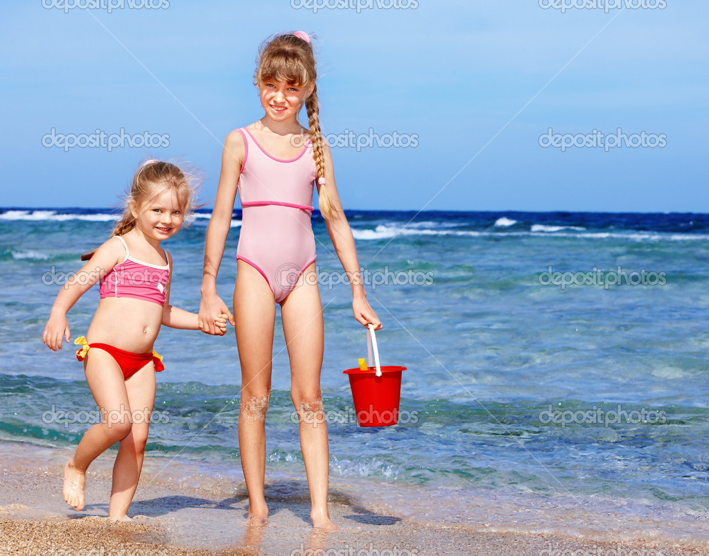 Children playing on beach.