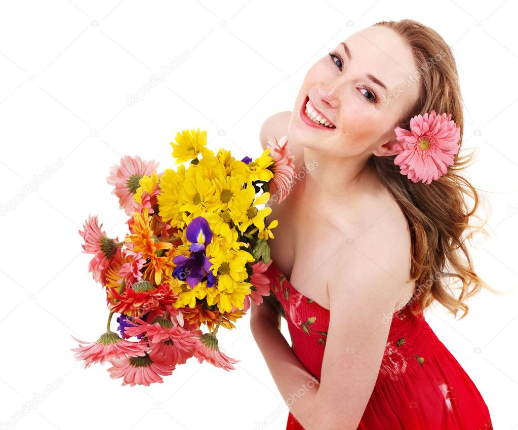 Happy young woman holding flowers. — Stock Photo ...