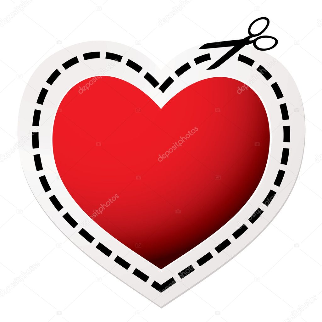 Cut Out Heart Red Stock Vector
