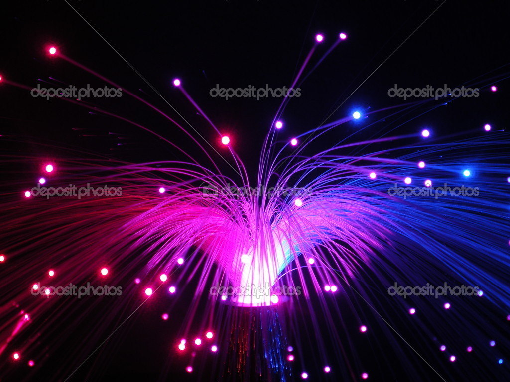 glasvezel verlichting s nachts stockfoto