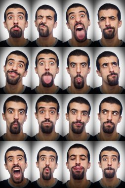 Youg Man Collection of Expressions on White Background