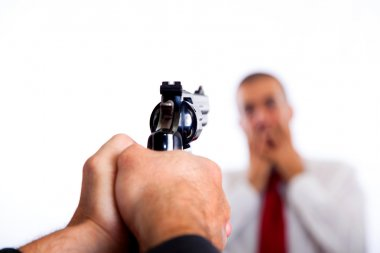 Man Point a Gun on Young Terrorized Businessman