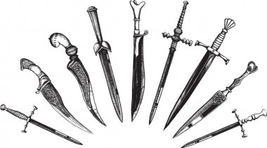 Set of Oriental and European Daggers