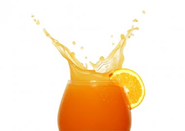 Glass of splashing orange juice isolated on white background with clipping path stock vector