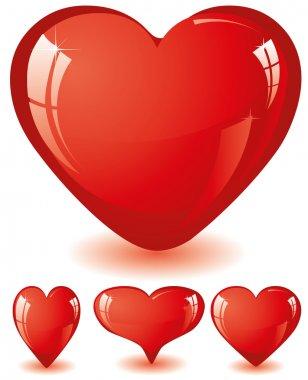 Set of red glitter shiny hearts, vector illustration clip art vector