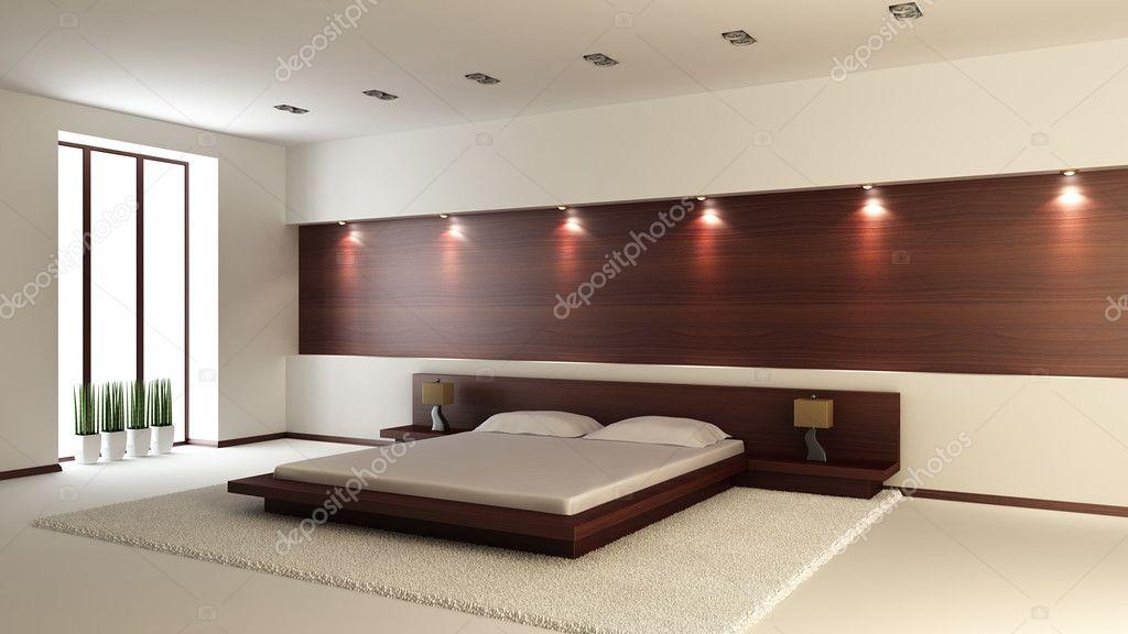 Modern interior of a bedroom (3d rendering) stock vector