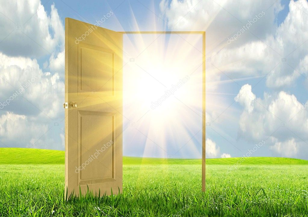 Sun rays and open door