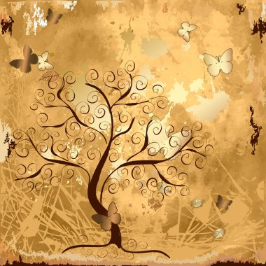 Grunge background with tree