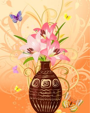 Vase of flowers with butterflies