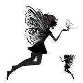 Fotografie Silhouette einer Fee mit Schmetterling