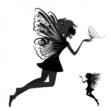 Silhouette of a fairy with butterfly