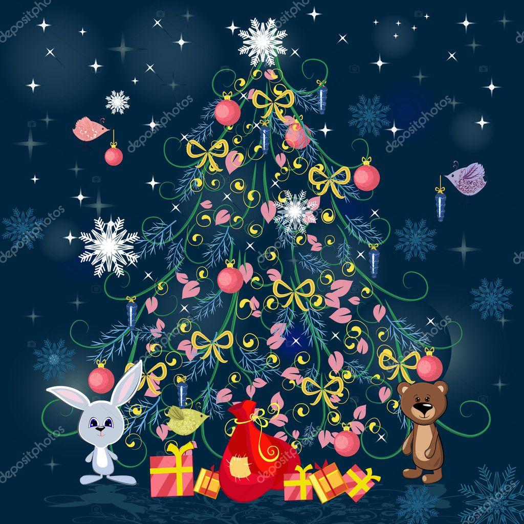 Новогодняя елочка vektor. Новогодняя елка с игрушками ...