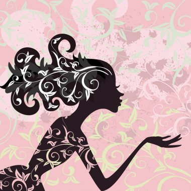 Glamour girl hair ornamentv clip art vector