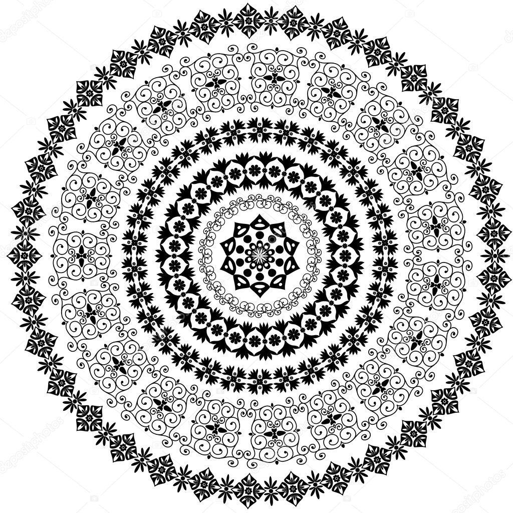 Abstract circular pattern of arabesques