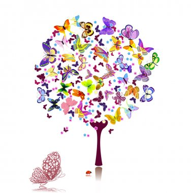 Tree of butterflies clip art vector