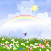 Fotografia paesaggio floreale con arcobaleno