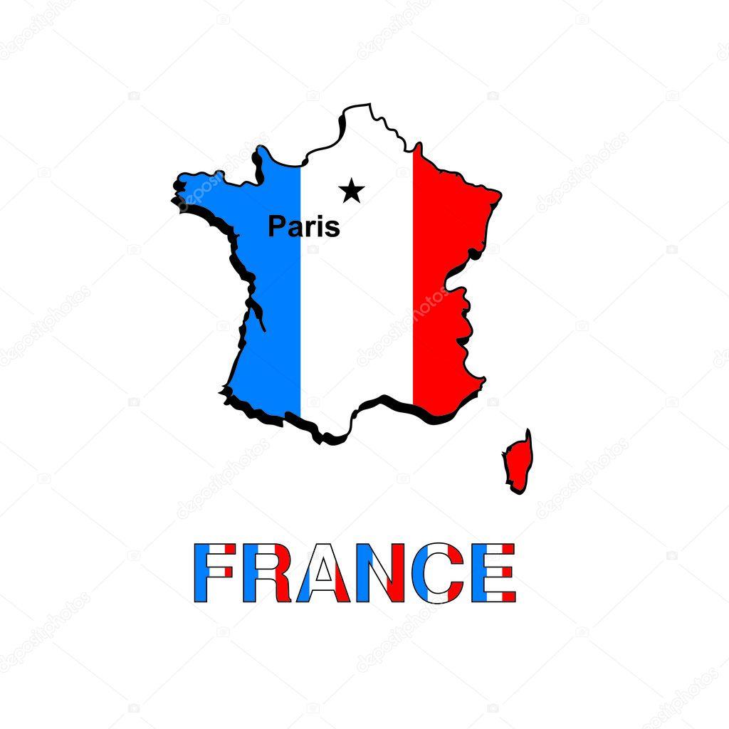フランス地図フランス国旗の形でベクトル イラスト ストックベクター