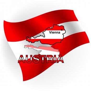 "Картина, постер, плакат, фотообои ""Австрия карта в форме австрийский флаг. Векторная illustratio"", артикул 4068561"