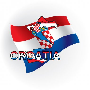 Cards of Croatia in the form of the Croatian flag. Vector illust