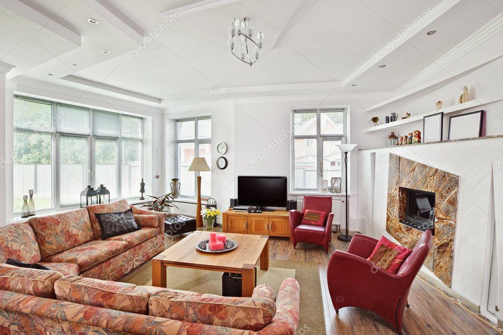 Interieur in moderne art deco stijl salon met open haard en t