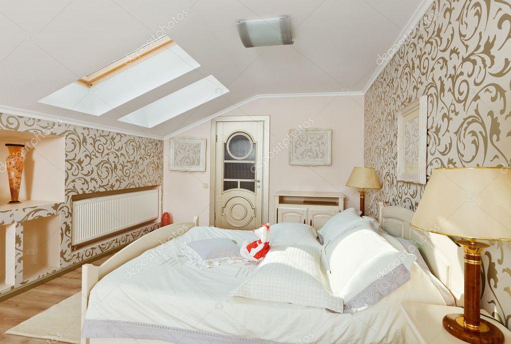 Modern Art Deco Style Bedroom Interior In Light Beige Colors On Stock Photo