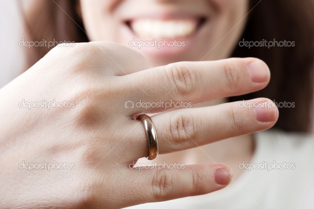 Wedding ring on women finger Stock Photo ia64 4954387