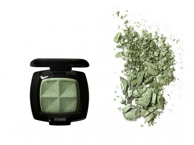 Crushed Eyeshadow and open palette isolated on white