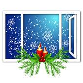 Vánoční okno se svíčkami