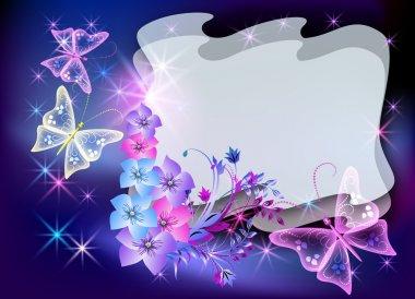 """Картина, постер, плакат, фотообои """"светящиеся прозрачные цветы и бабочка """", артикул 4773690"""