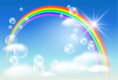 Rainbow, clouds and bubbles