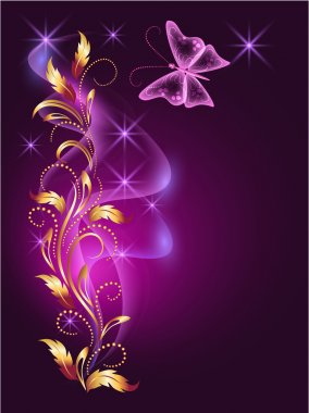 Glowing background with butterfly and golden ornament clip art vector