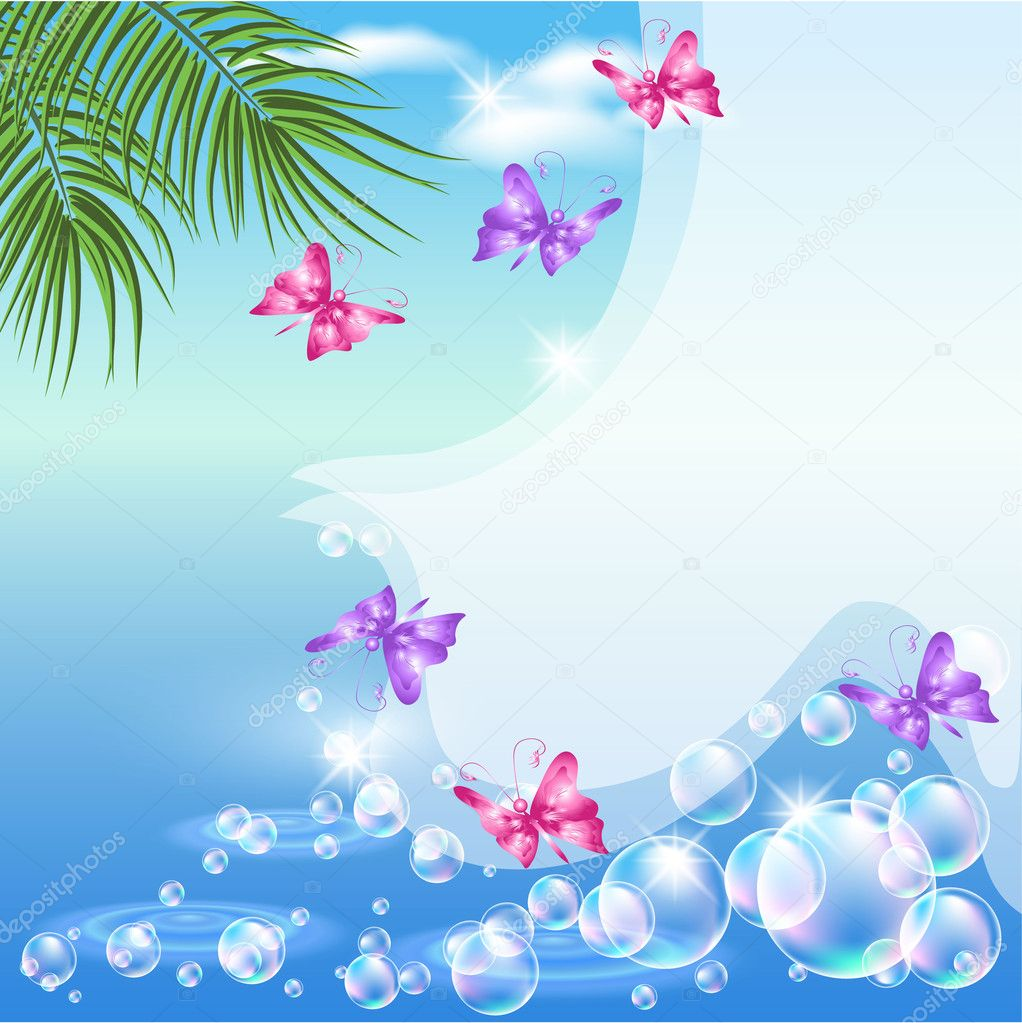 Seascape with butterfly and palm branches