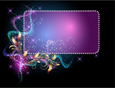 Glowing background with signboard, smoke, stars and golden ornament clip art vector