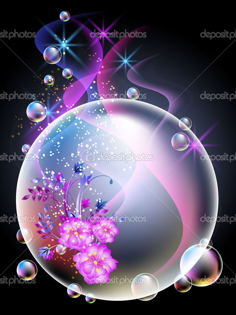 Glowing background with flowers and bubbles