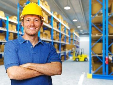 Handyman portrait in 3d warehouse background stock vector