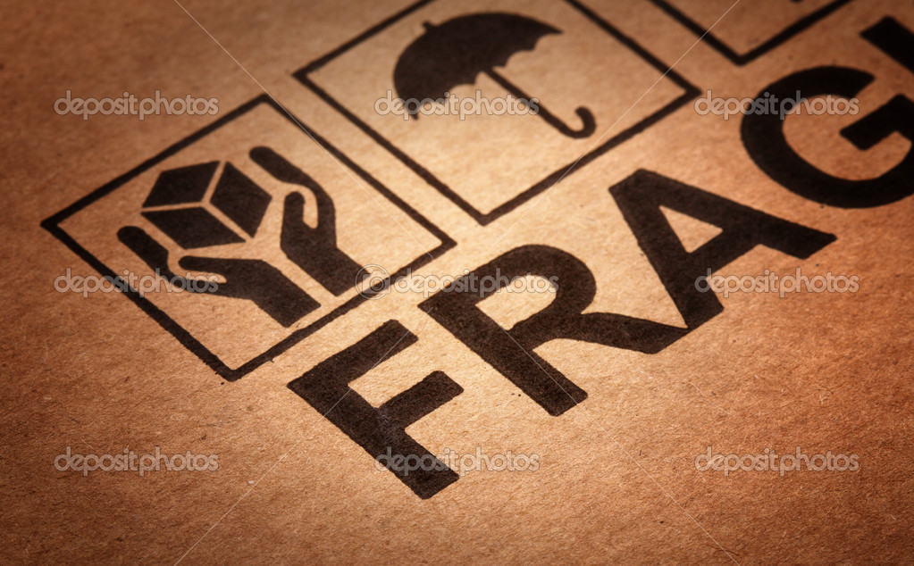 Fine image close up of fragile symbol on cardboard