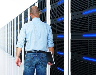 Black 3d server and man
