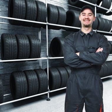 Mechanic and garage background