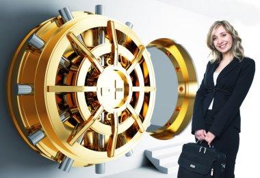 Woman and bank vault