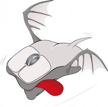 The computer mouse with wings caricature