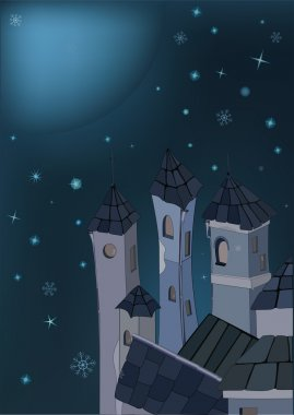 Winter city and night