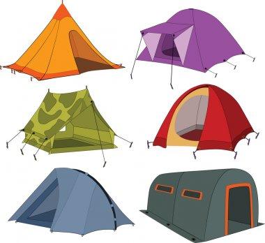 Set of tourist tents