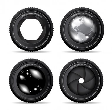 Vector illustration of camera lens on white