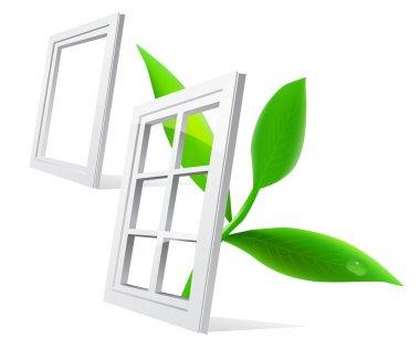 Vector window and leaf isolatde on white background