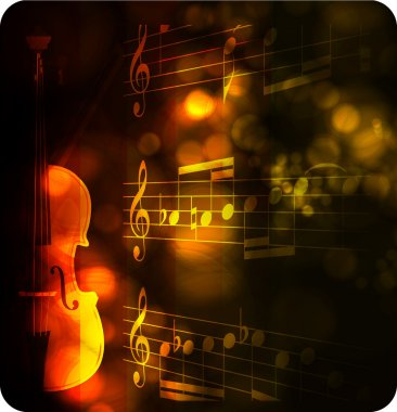 Vintage violin silhouette with note