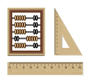 Wooden abacus and rulers