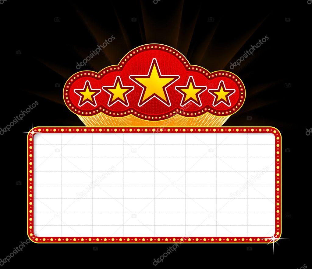 leere Film, Theater oder Casino-Festzelt mit Sternen isoliert auf ...