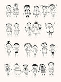 Fotografie Happy big family smiling together, drawing sketch